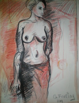 DIE RÖMERIN   2011, Kreide, 51 x 65,5 cm. Privatsammlung