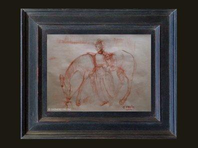 ALBANERIN MIT PFERD   2014 Kreide und Tusche auf Papier, 65 x 49 cm
