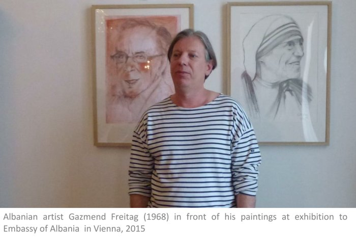 Albanian artist Gazmend Freitag (1968) in front of his paintings at exhibition to                 Embassy of Albania  in Vienna, 2015