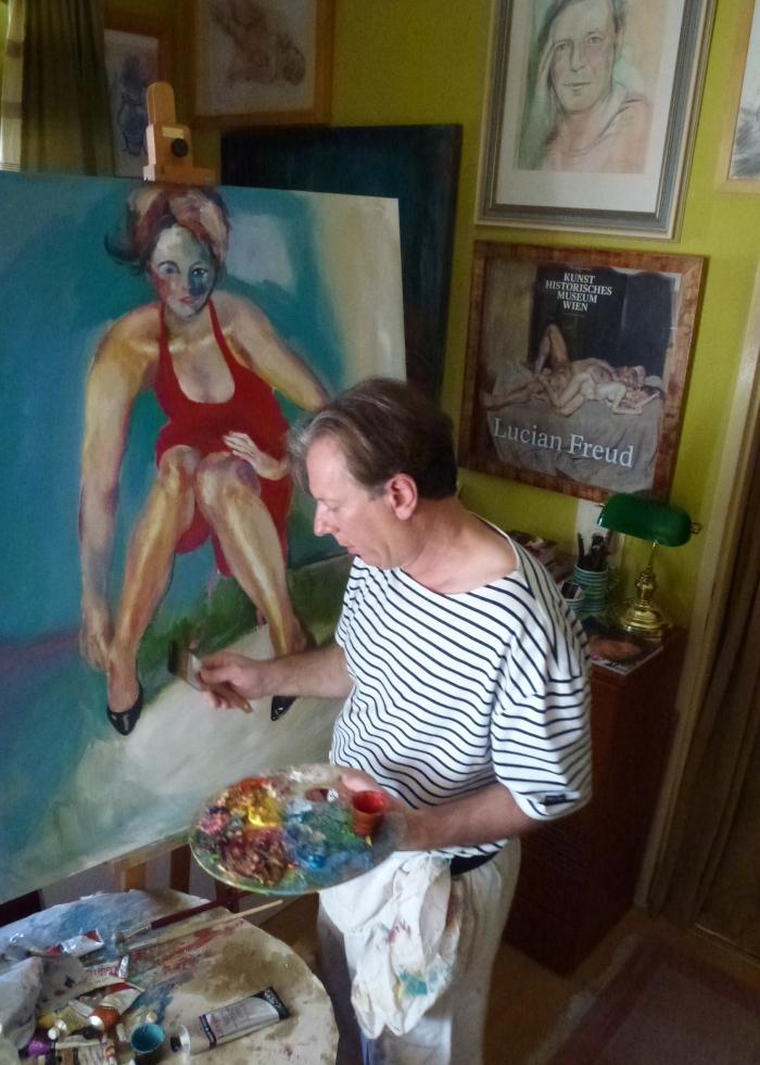 Artist Gazmend in his studio, Linz 2013