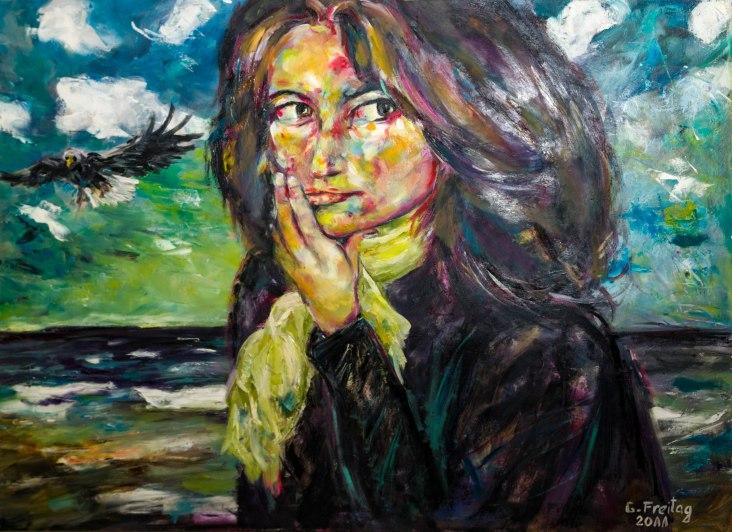 NADEGE AM MEER   2011, Öl auf Leinwand, 100 x 80 cm. EUR 3.000