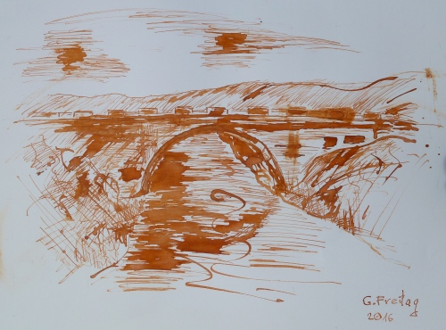 Ura e Shenjtë by Gazmend Freitag, 2016. Tusche auf Papier, 42 x 59,4 cm