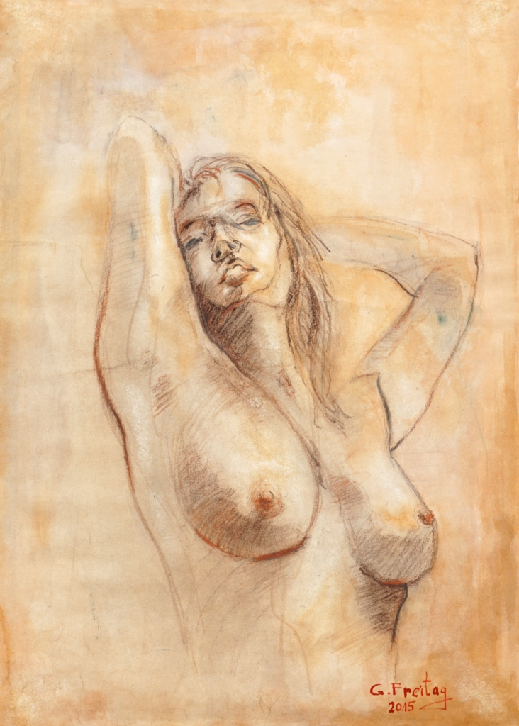 Gazmend Freitag: Sonjuschka Brustbildnis, 2015, Kreide und Tusche auf Papier, 59,4 x 42 cm