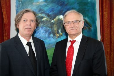 Gazmend Freitag, Ambasador Roland Bimo, Wien, 2016. PHOTO: FRANZ MORGENBESSER