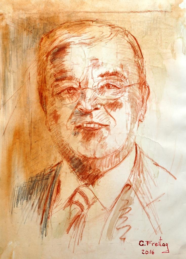 Gazmend Freitag: Franz Dobusch, 2016, Kreide und Bleistift auf Papier, 59,4 x 42 cm
