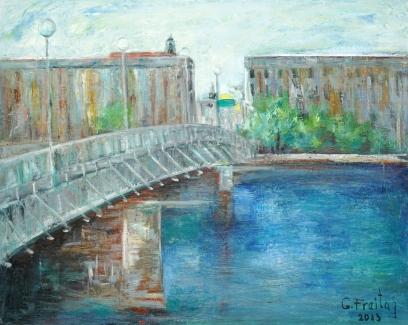 Nibelungen Brücke in Linz, 2013 | 100 x 80 cm, Öl auf Leinwand