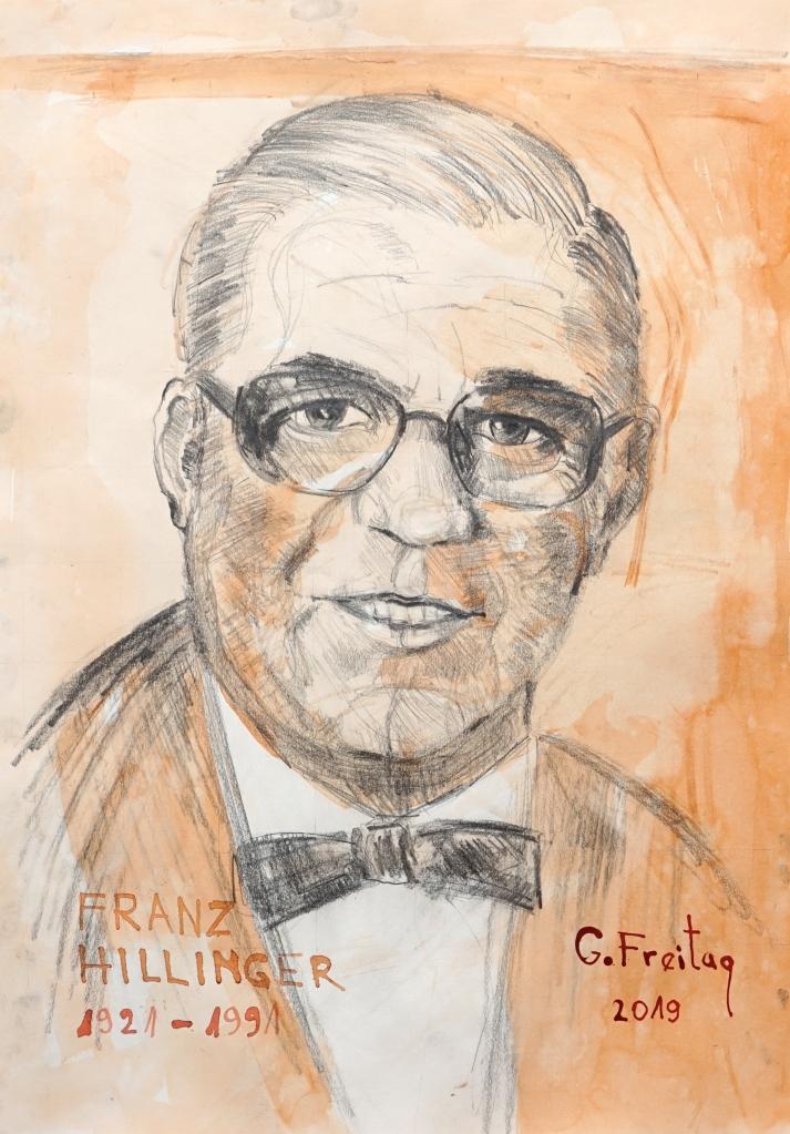 Gazmend Freitag: Franz Hillinger, Bleistift mit Tusche laviert auf Papier, 59,4 x 42 cm. © Seniorenzentrum Franz Hillinge