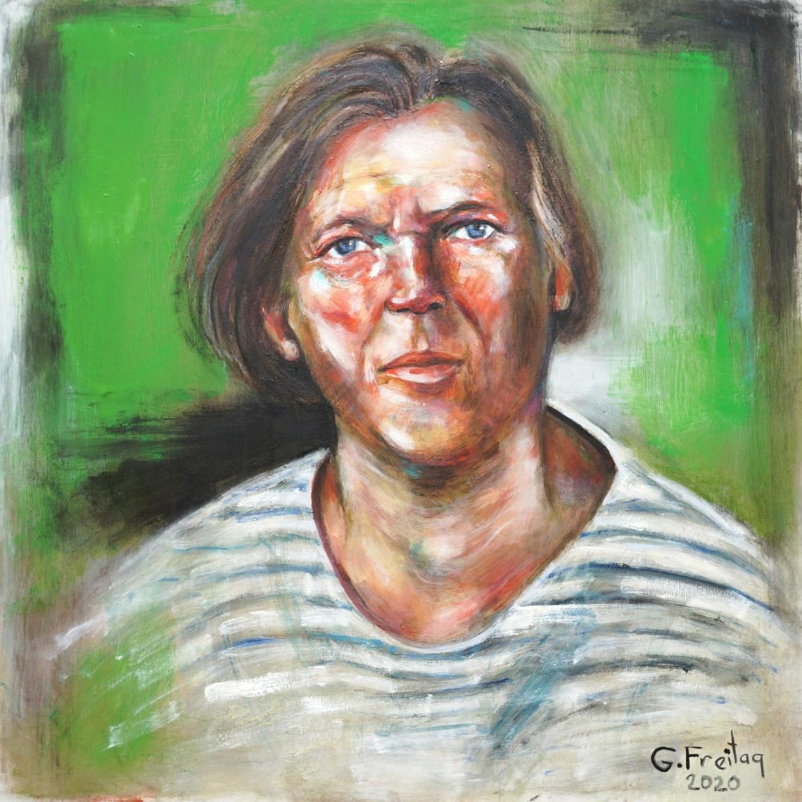 Gazmend Freitag: Selbstporträt, 2020,80 x 80 cm, Öl auf Leinwand