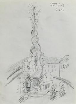 Dreifaltigkeitssäule in Hauptplatz Linz 1, 2017 | 29,7 x 42 cm. Bleistift auf Papier