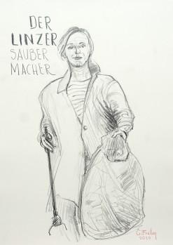 Der Linzer Saubermacher, 2020 | 59,4 x 42 cm, Bleistift auf Papier
