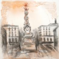 Dreifaltigkeitssäule Linz, 2020 | 100 x 100 cm, Bleistift mit Tusche laviert auf Leinwand