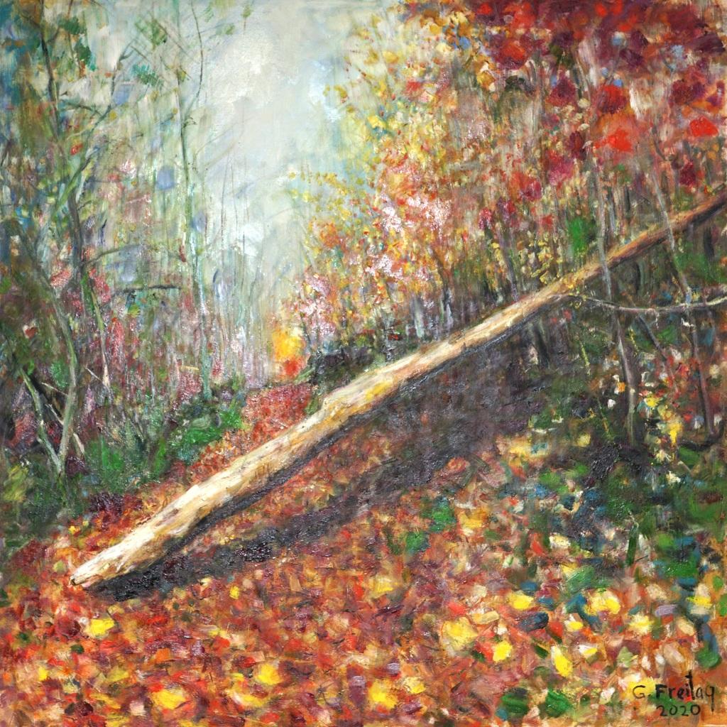 Gazmend Freitag: Bachlberg, 2020, Öl auf Leinwand, 120 x 120 cm