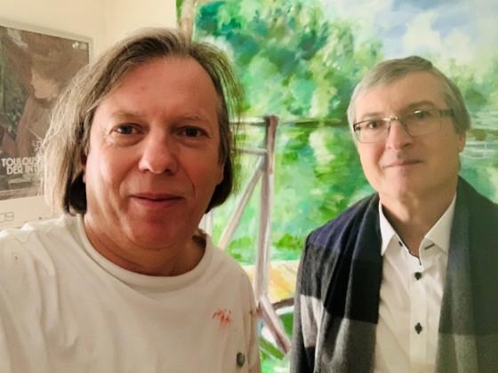 Gazmend Freitag mit Hubert Thurnhofer im Atelier in Linz, 6. Februar 2021