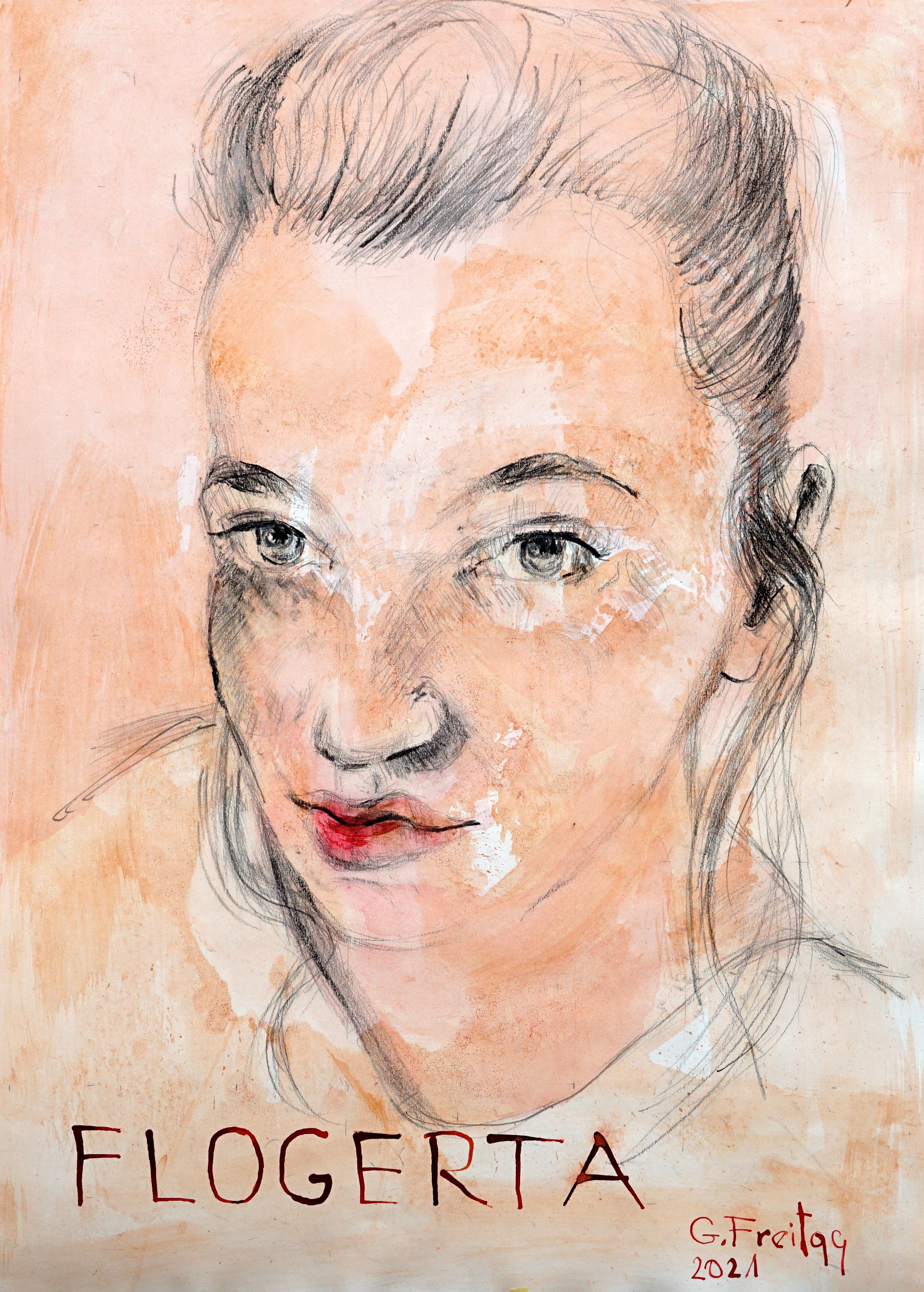 Gazmend Freitag: Flogerta Driza, 2021, Bleistift mit Tusche laviert auf Papier, 59,4 x 42 cm. Privatsammlung!