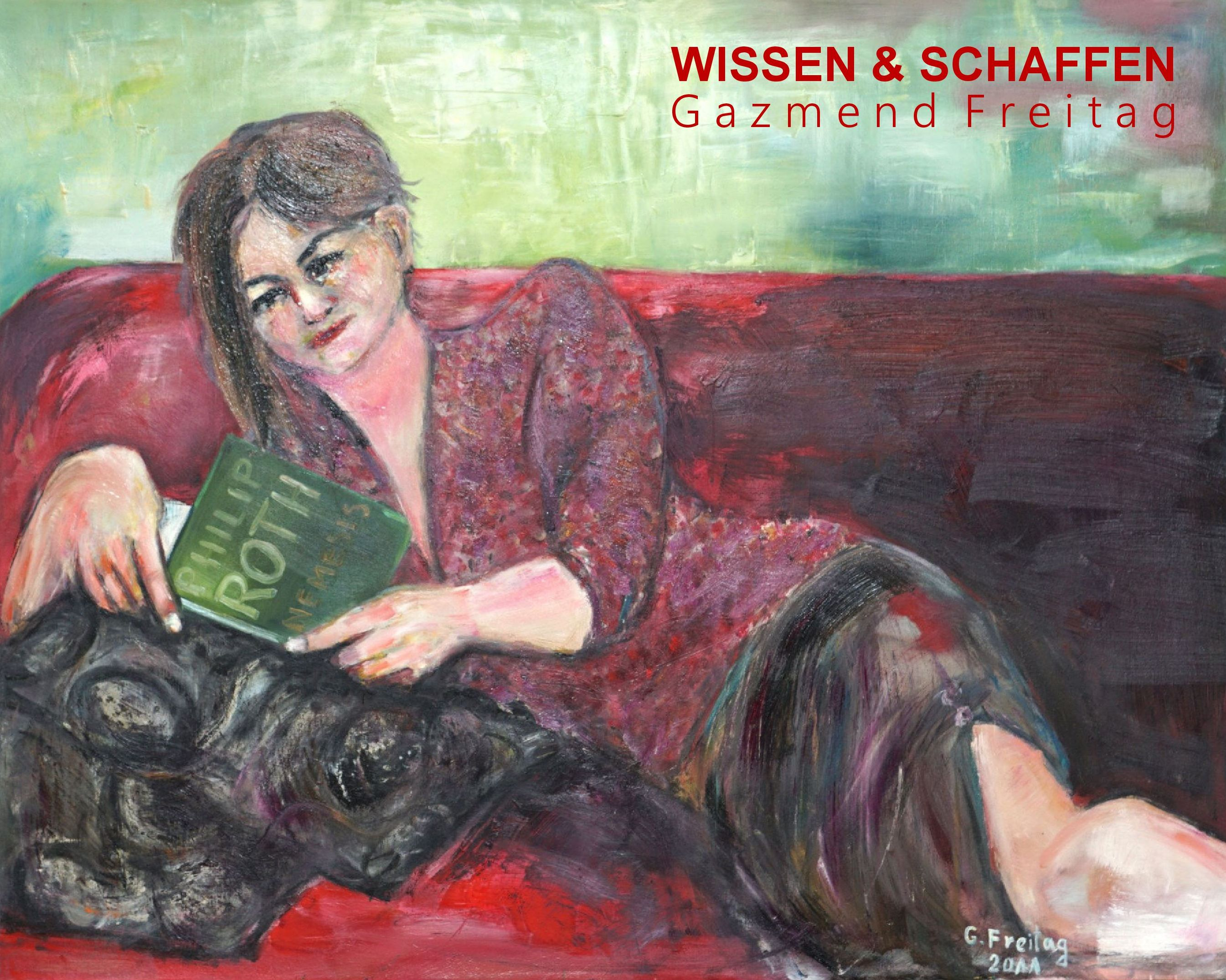 Gazmend Freitag: Literatur schafft Wissen, 2011, Öl auf Leinwand, 80 x 100 cm